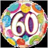 "18"" Dots & Glitz 60th Balloon overview"