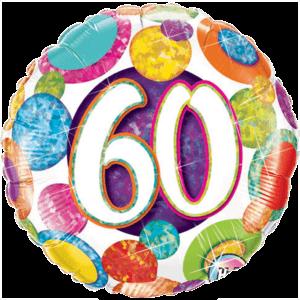 60th Colourful Sparkle Balloon in a Box
