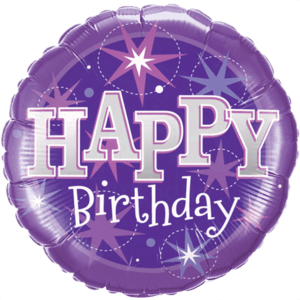 Purple Stars Birthday Balloon in a Box