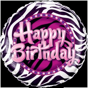 Birthday Zebra Print Balloon in a Box