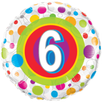 Round Age 6 Colourful Dots Balloon in a Box