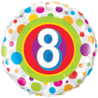 Round Age 8 Colourful Dots Balloon in a Box