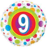 "18"" Round Age 9 Colourful Dots Balloon in a Box"