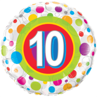 "18"" Round Age 10 Colourful Dots Balloon in a Box"