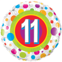 Round Age 11 Colourful Dots Balloon in a Box