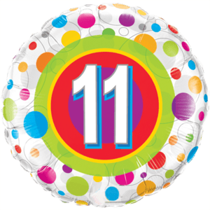 Age 11 Colourful Dots Balloon in a Box