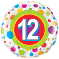 "18"" Round Age 12 Colourful Dots Balloon in a Box"