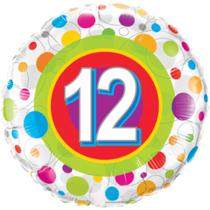 """18""""  Age 12 Colourful Dots Balloon in a Box"""
