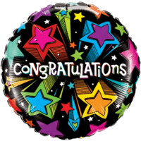 Congratulations Colourful Shooting Stars Balloon in a Box