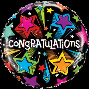 Congratulations Colourful Stars Balloon in a Box