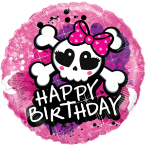 Skull Bow & Crossbones Happy Birthday Balloon in a Box