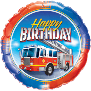 Colourful Fire Truck Birthday Balloon in a Box