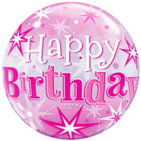 Happy Birthday Pink Bubble Balloon in a Box