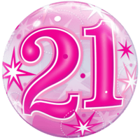 21 Pink Sparkly Bubble Balloon in a Box
