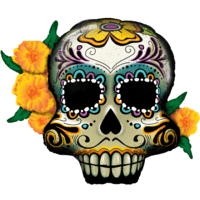 "38"" Day of the Dead Skull and Flowers Balloon in a Box"
