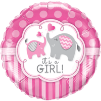 "18"" It's A Girl Elephants Balloon in a Box"