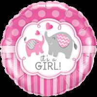 "18"" It's A Girl Pink Elephants Balloon in a Box"