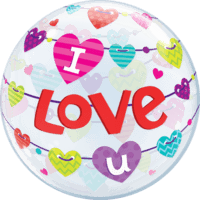 "22"" I Love U Banners Hearts Balloon in a Box"