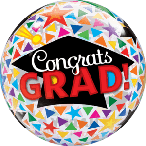 "22"" Congrats Grad Triangles & Caps Balloon in a Box"