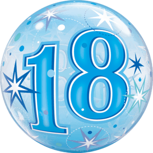 "22"" Blue Starburst 18th Sparkle Balloon in a Box"