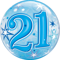 """22"""" Blue 21st Starburst Balloon in a Box"""