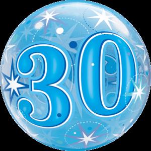 "22"" Blue 30th Starburst Balloon in a Box"