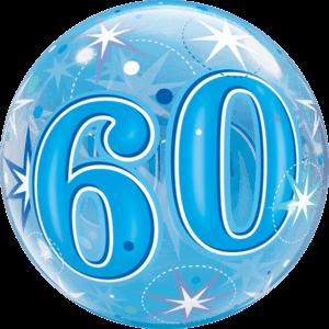 "22"" Blue 60th Starburst Balloon in a Box"