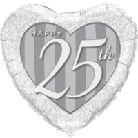 "18"" Happy 25th Damask Heart Silver Balloon in a Box"