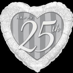 "18"" Happy 25th Damask Heart Silver Balloon in a Box"