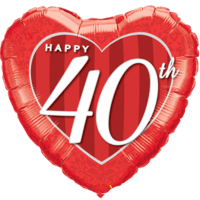 "18"" Happy 40th Damask Heart Red Balloon in a Box"