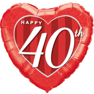 """18"""" Happy 40th Damask Heart Red Balloon in a Box"""