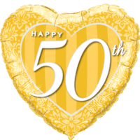 Happy 50th Damask Heart Gold