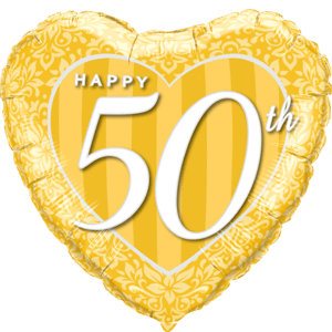 "18"" Happy 50th Damask Heart Gold Balloon in a Box"