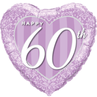 "18"" Happy 60th Damask Heart Purple Balloon in a Box"