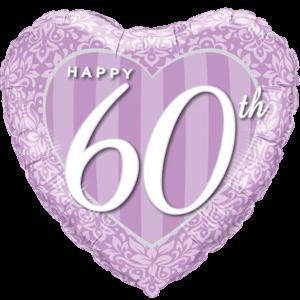"18"" Happy 60th Damask Heart Purple Balloon in a Box"