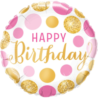 Birthday Pink & Gold Dots Balloon in a Box