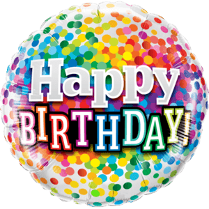 "18"" Happy Birthday Rainbow Confetti Balloon in a Box"