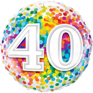 "18"" Rainbow 40 Confetti Balloon in a Box"