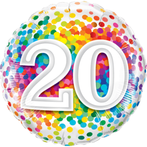 "18"" Rainbow 20 Confetti Balloon in a Box"