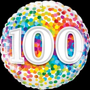"18"" Rainbow 100 Confetti Balloon in a Box"