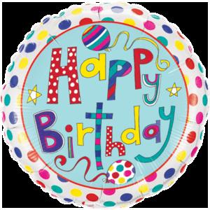 Stripes & Polka Dots Birthday Foil Balloon Balloon in a Box