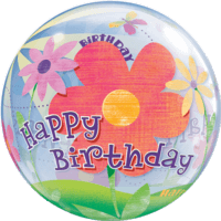Happy Birthday Big Flower Bubble Balloon in a Box