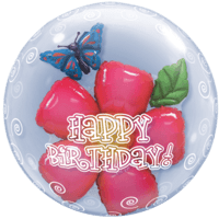 Big Pink Flower Birthday Double Bubble Balloon in a Box