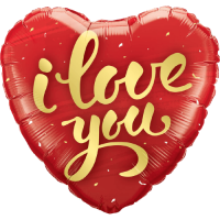 I Love You Gold Script Balloon in a Box