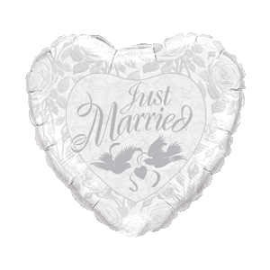 White & Silver Just Married Heart Balloon in a Box