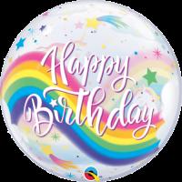 Birthday Rainbow Unicorns Bubble Balloon in a Box