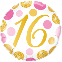 16 Pink & Gold Dots Balloon in a Box