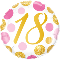 18 Pink & Gold Dots Balloon in a Box