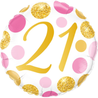 21 Pink & Gold Dots Balloon in a Box