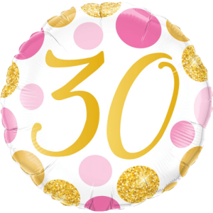 30 Pink & Gold Dots Balloon in a Box